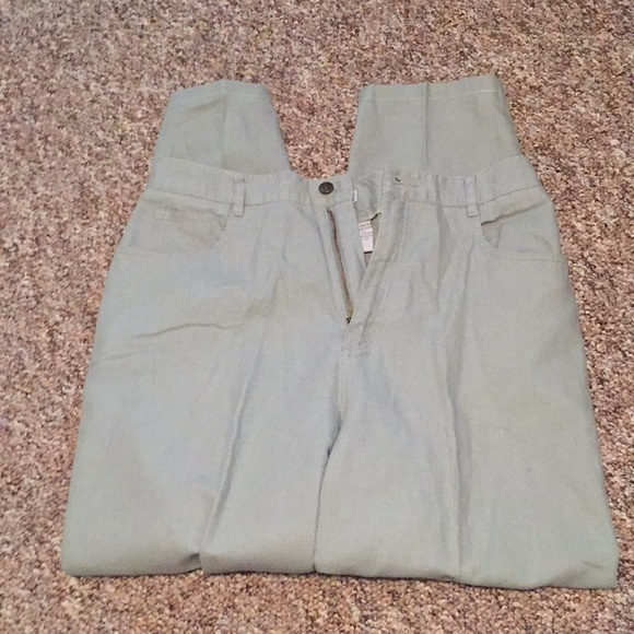 Talbots Denim - Talbots 14, Linen/Cotton 5 pocket Sage green Jeans